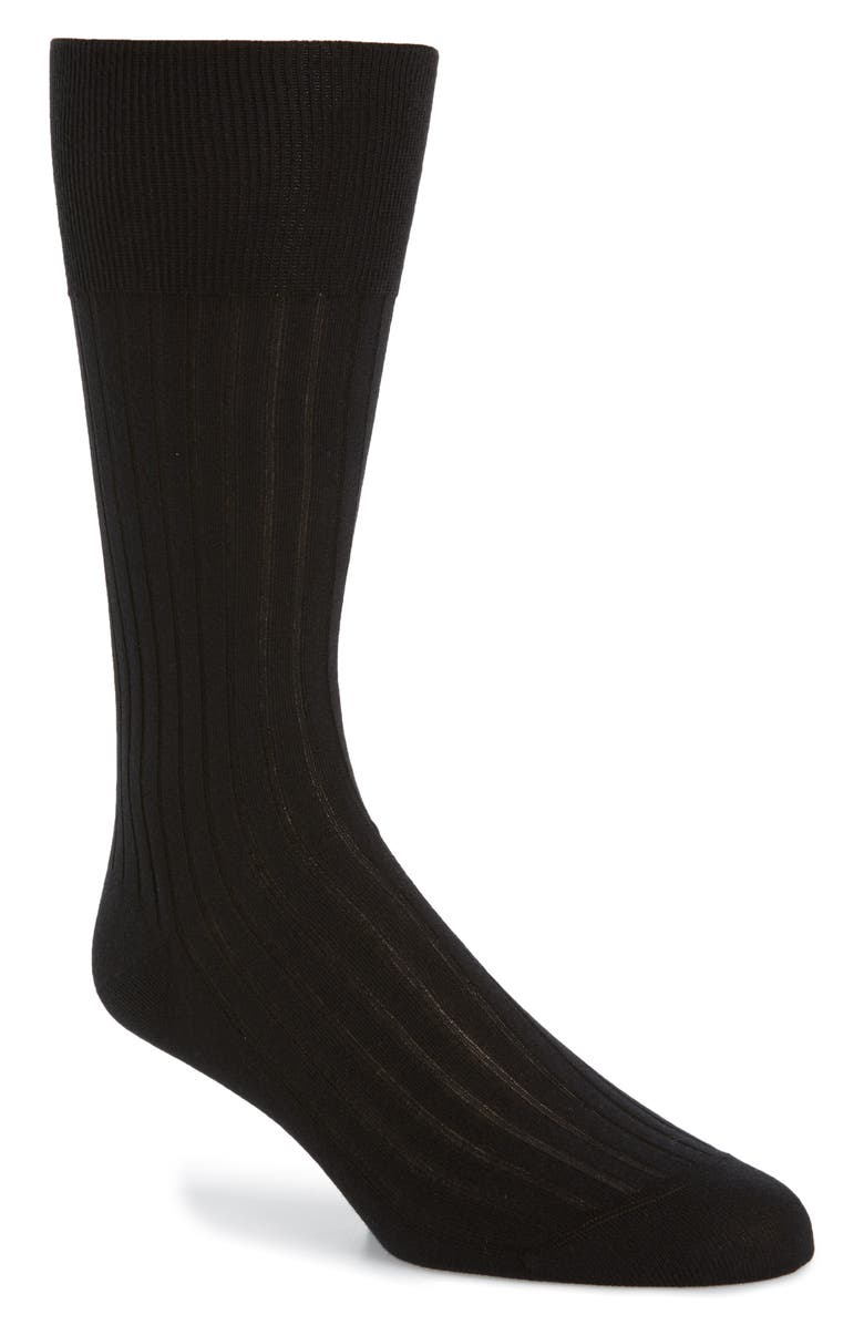 FALKE No. 13 Egyptian Cotton Blend Dress Socks, Main, color, BLACK