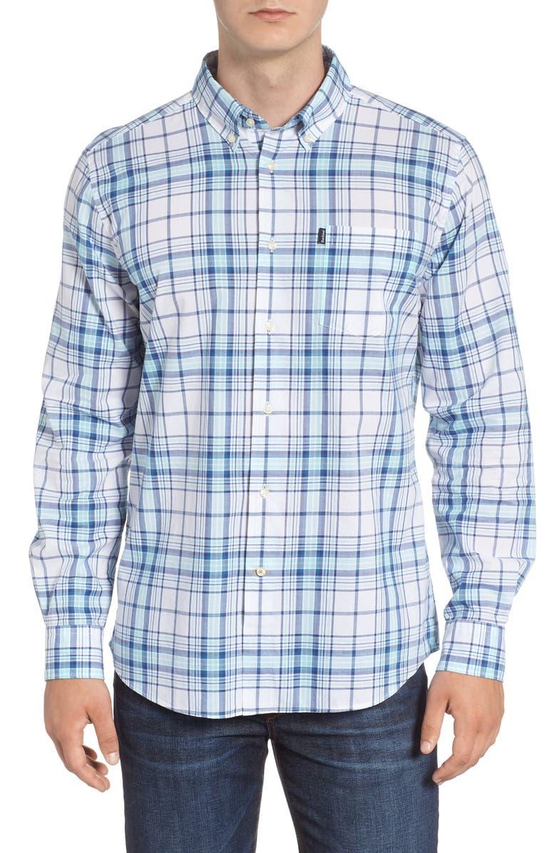 BARBOUR Christopher Tailored Fit Plaid Sport Shirt, Main, color, AQUA