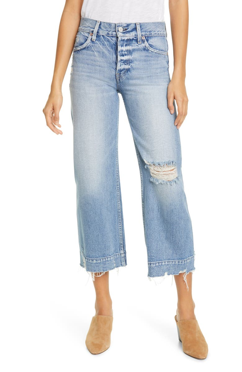 TRAVE Audrey Ripped High Waist Wide Leg Crop Jeans, Main, color, 424