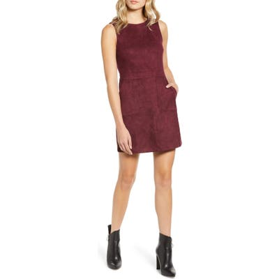 Bishop + Young Gemma Faux Suede Sleeveless Sheath Dress, Burgundy