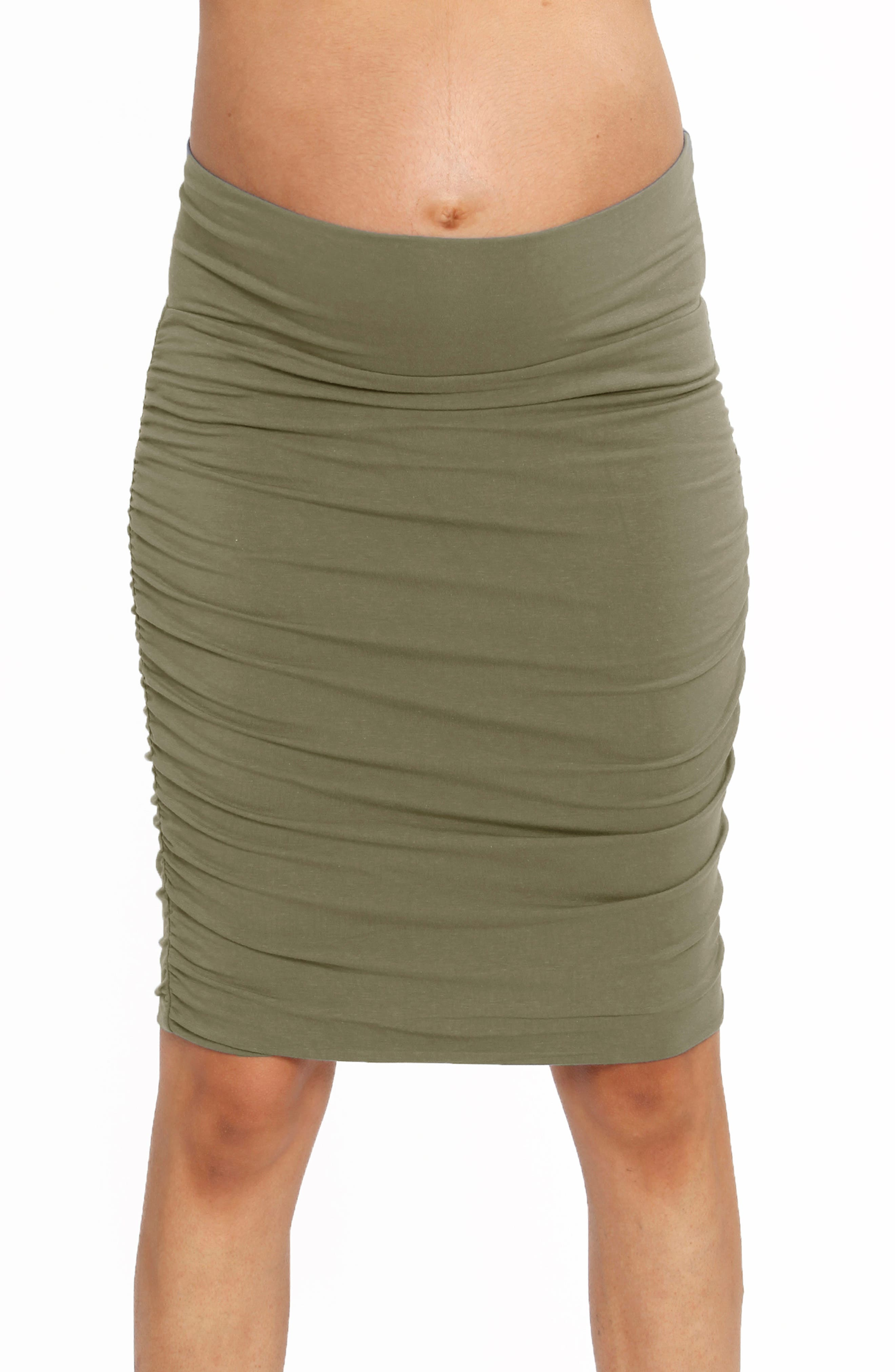 Go from the office to grabbing lunch with friends in this figure-skimming skirt that\\\'s ruched at the sides, making it perfect for your growing baby bump. Style Name: Angel Maternity Ruched Maternity Skirt. Style Number: 6030783. Available in stores.