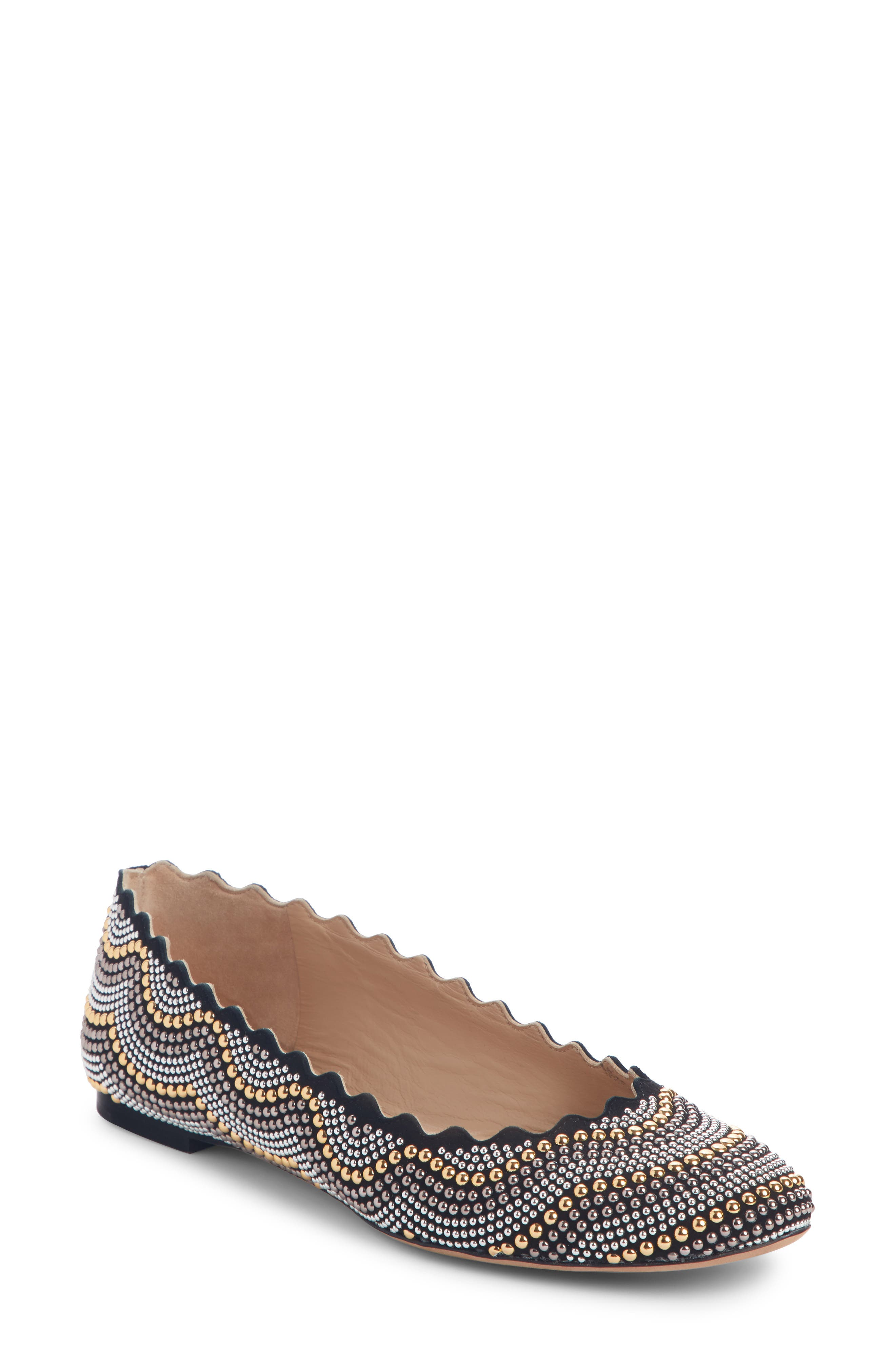 Lauren Scalloped Studded Ballet Flat, Main, color, BLACK