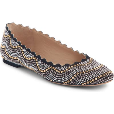 Chloe Lauren Scalloped Studded Ballet Flat, Black