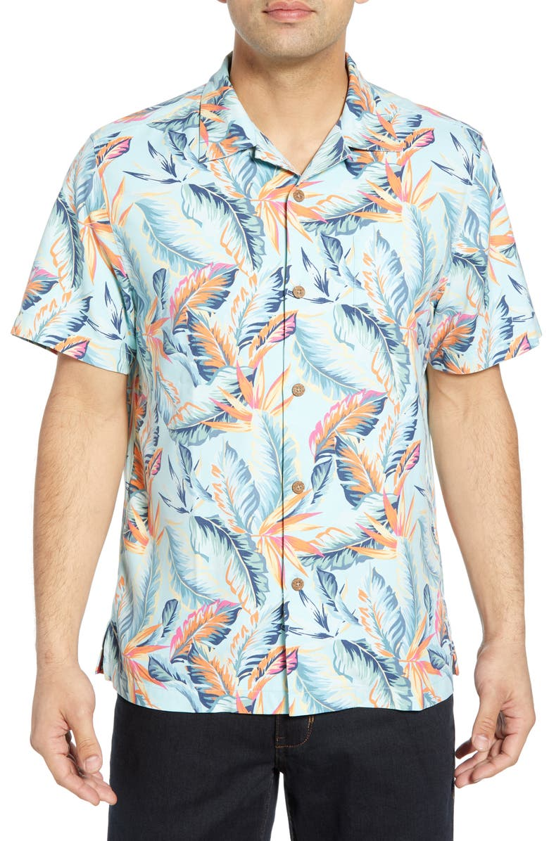 TOMMY BAHAMA Break Wave Fronds Silk Blend Sport Shirt, Main, color, BLUE SWELL