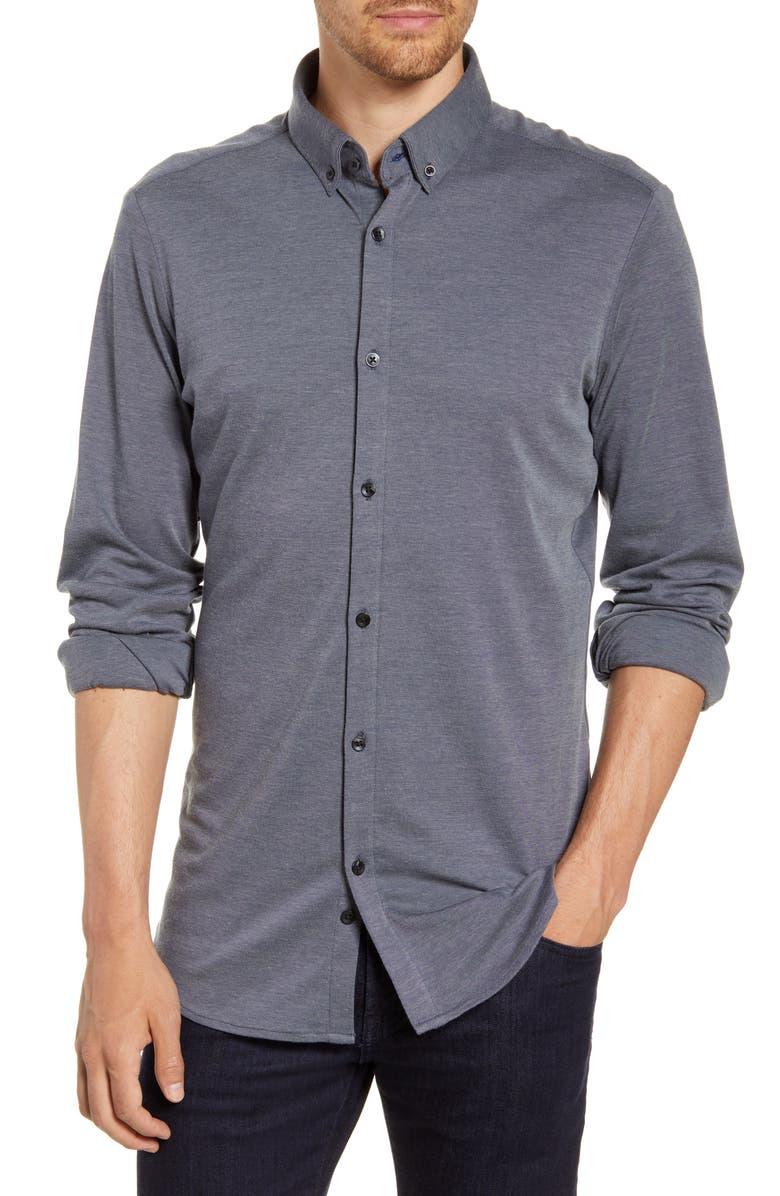 MIZZEN+MAIN Rockefeller Trim Fit Button-Down Piqué Knit Shirt, Main, color, BLACK