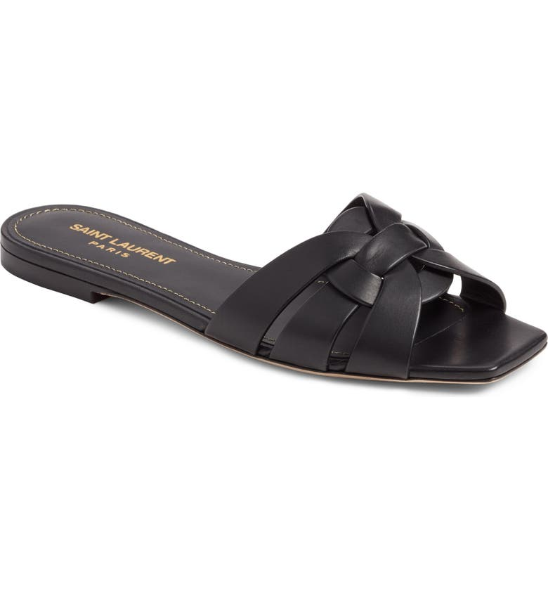 SAINT LAURENT Tribute Slide Sandal, Main, color, BLACK LEATHER