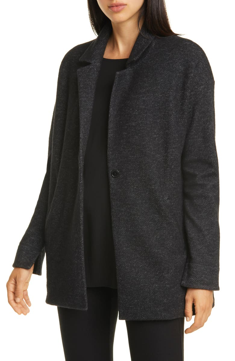 EILEEN FISHER Notch Collar Long Jacket, Main, color, 021