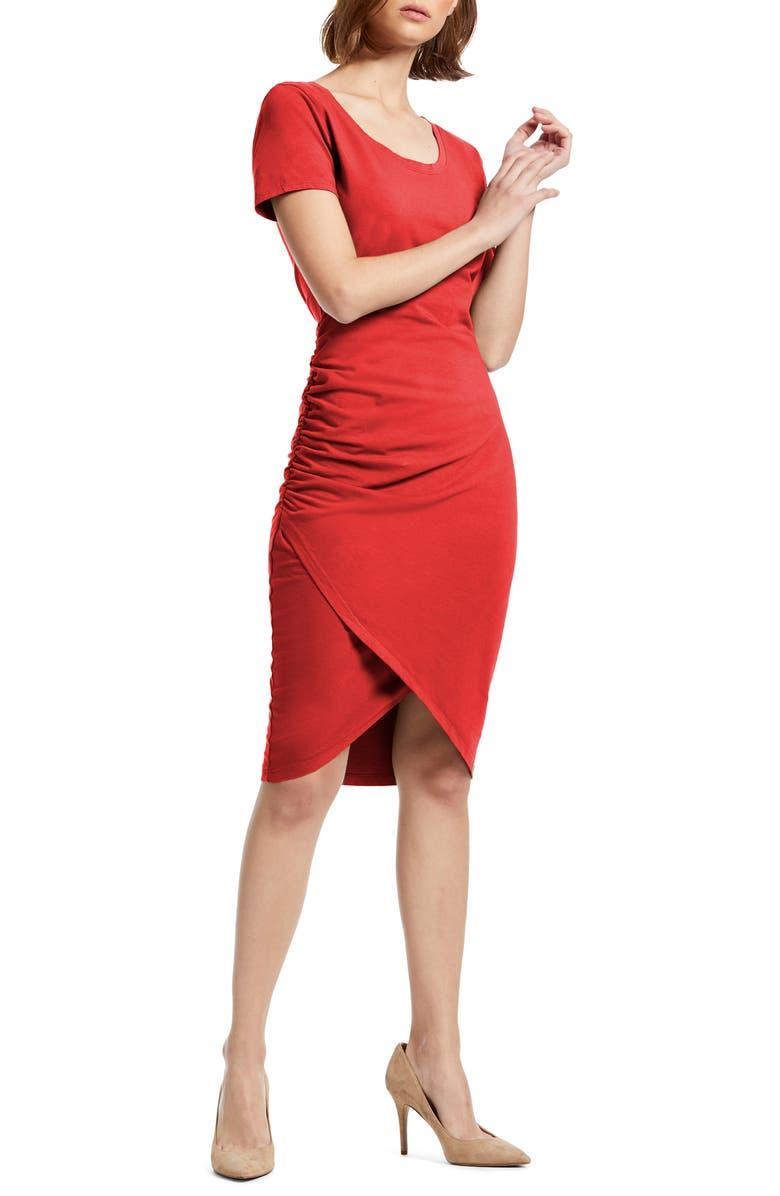 MICHAEL STARS Kimber Tulip Skirt Knit Dress, Main, color, SALSA