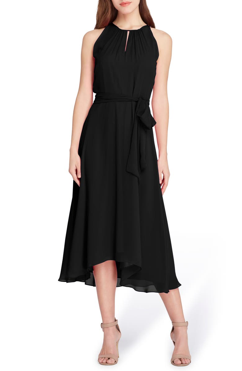 TAHARI Sleeveless Tie Waist Chiffon Midi Dress, Main, color, BLACK