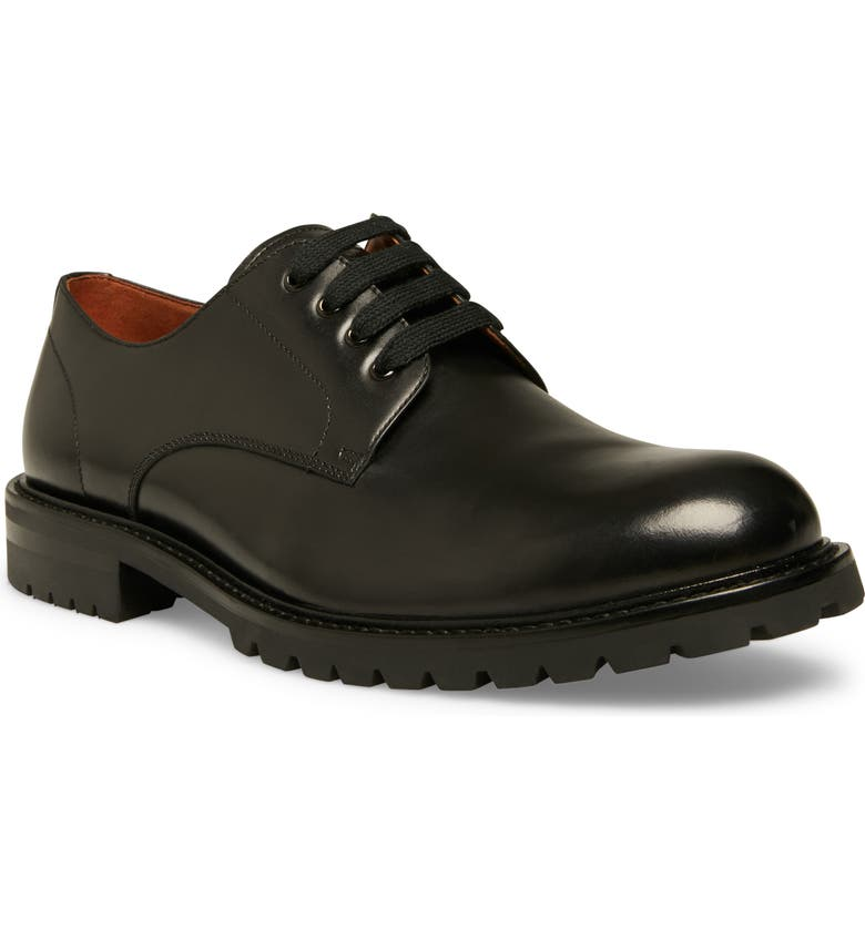 STEVE MADDEN Karbon Plain Toe Derby, Main, color, BLACK LEATHER