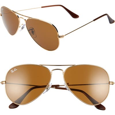 Ray-Ban Small Original 55Mm Aviator Sunglasses - Gold/ Brown Solid