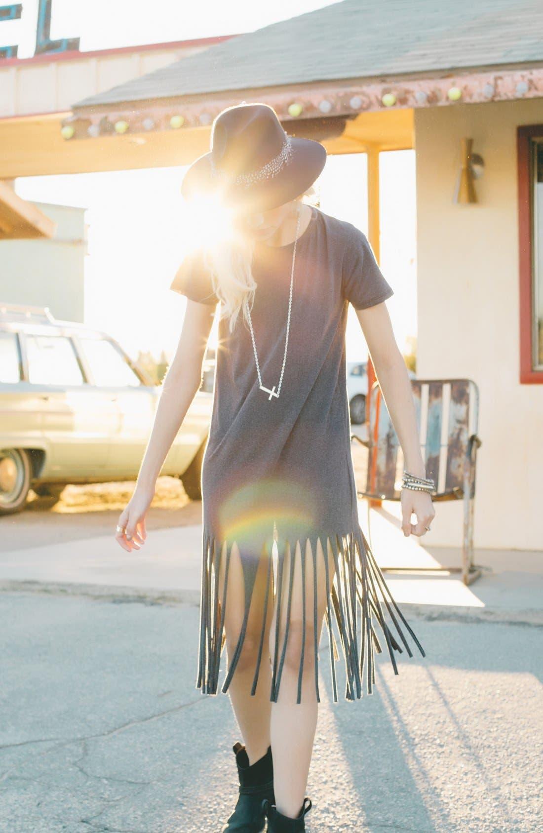 ,                             Fringe T-Shirt Dress,                             Alternate thumbnail 5, color,                             021