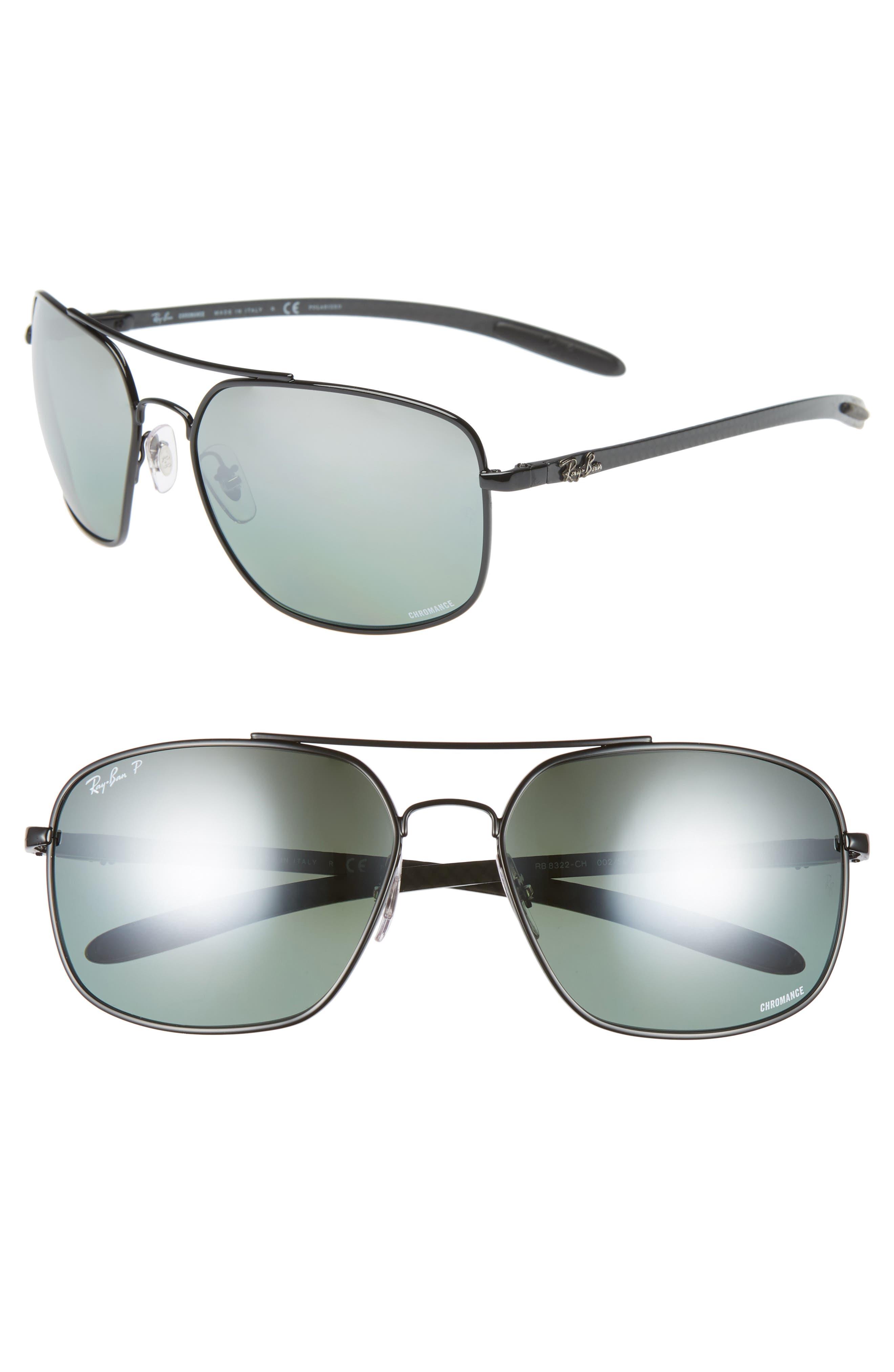 Ray-Ban 62Mm Polarized Square Sunglasses - Black