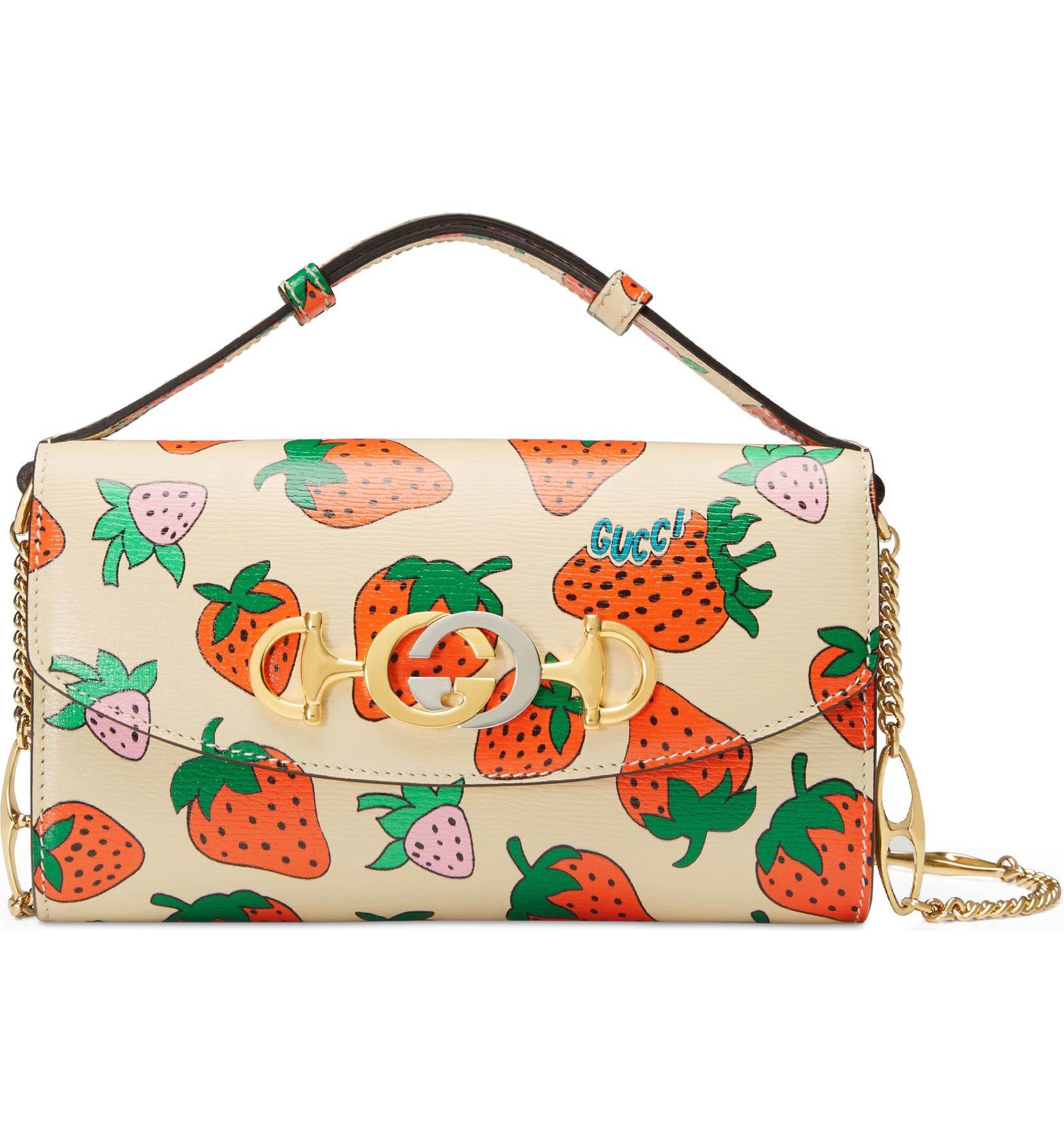 afcb964dd Gucci Mini Zumi Strawberry Print Leather Crossbody Bag   Nordstrom