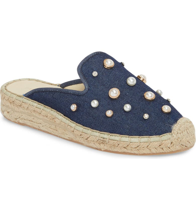 PATRICIA GREEN Embellished Espadrille Loafer Mule, Main, color, NAVY DENIM FABRIC