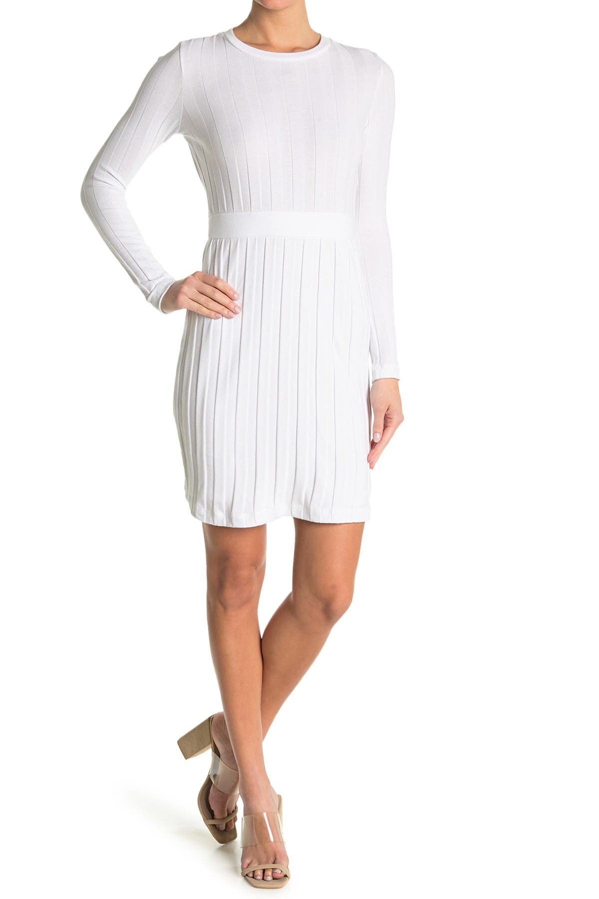Image of BALDWIN Ora Ribbed Knit Mini Dress