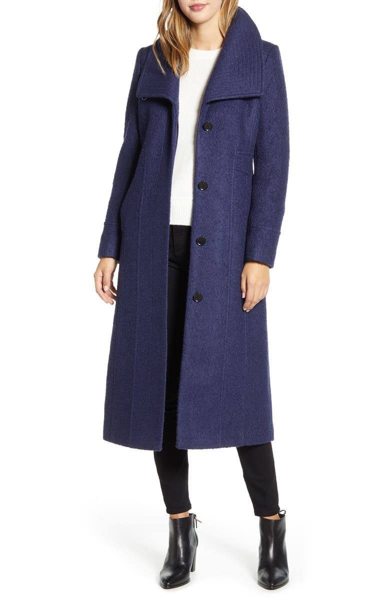 KENNETH COLE NEW YORK Bouclé Maxi Coat, Main, color, BERRY