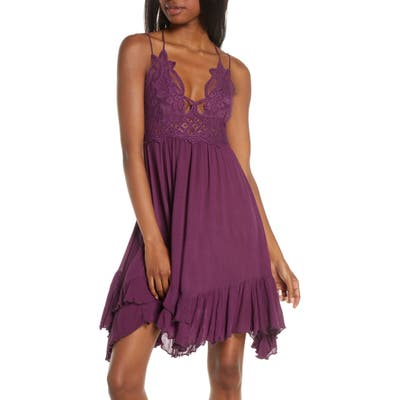 Free People Intimately Fp Adella Frilled Chemise, Purple