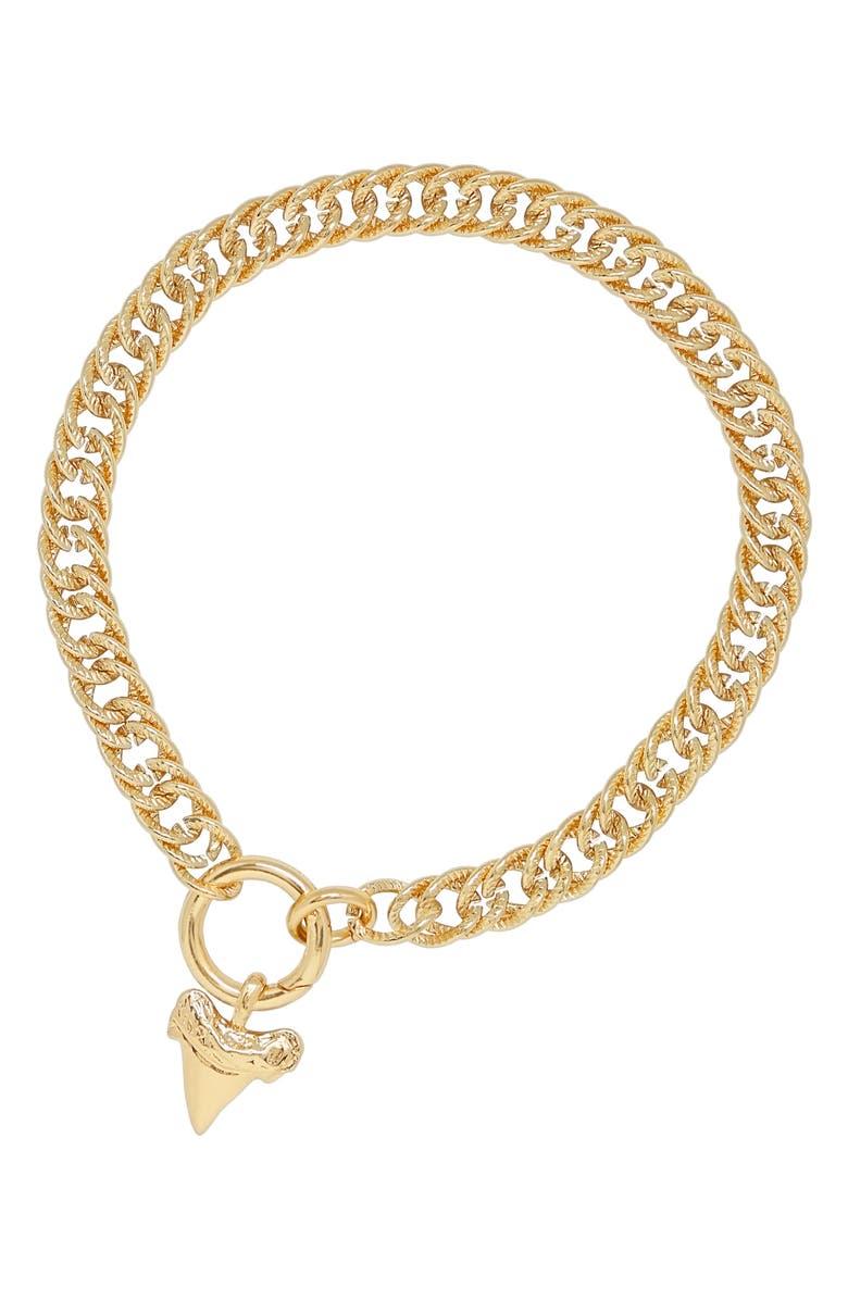 ETTIKA Shark Tooth Charm Collar Necklace, Main, color, GOLD