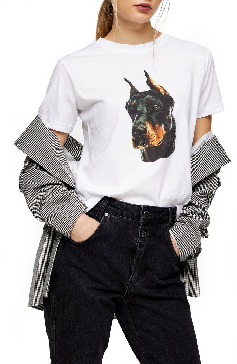 TOPSHOP Doberman Graphic Tee, Main, color, WHITE