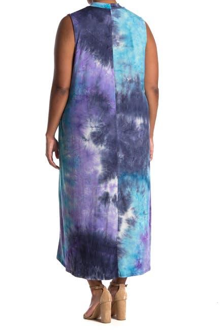 Image of TASH + SOPHIE Mock Neck A-Line Tie Dye Maxi Dress