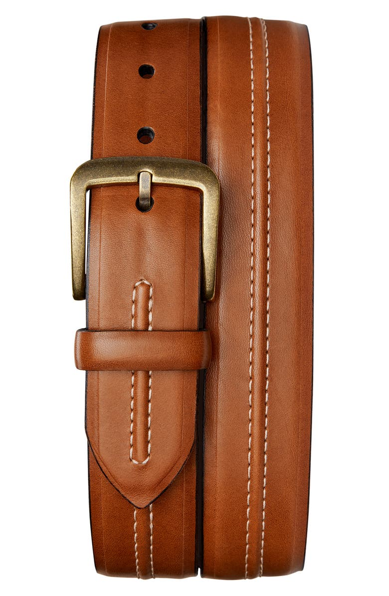 SHINOLA Double Center Stripe Leather Belt, Main, color, 201