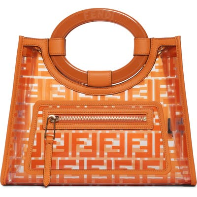 Fendi Small Runway Logo Transparent Shopper - Orange