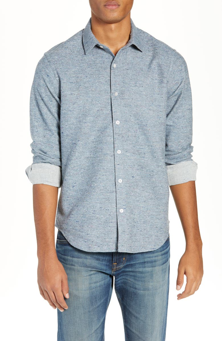JEFF Brussels Slim Fit Long Sleeve Shirt, Main, color, MEDIUM BLUE