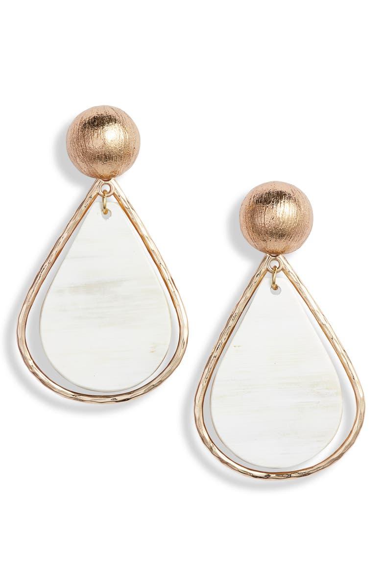 AKOLA Cleo Drop Earrings, Main, color, BLONDE
