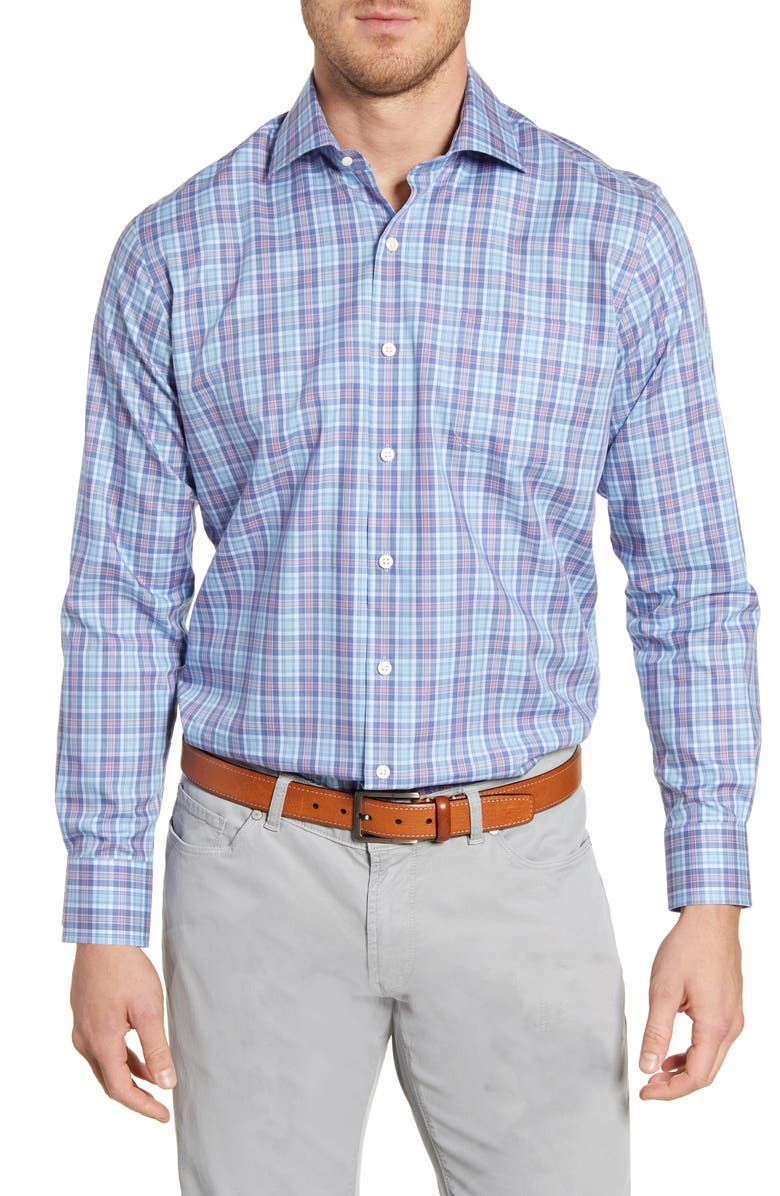 PETER MILLAR Wrights Ville Regular Fit Plaid Button-Up Shirt, Main, color, COTTAGE BLUE