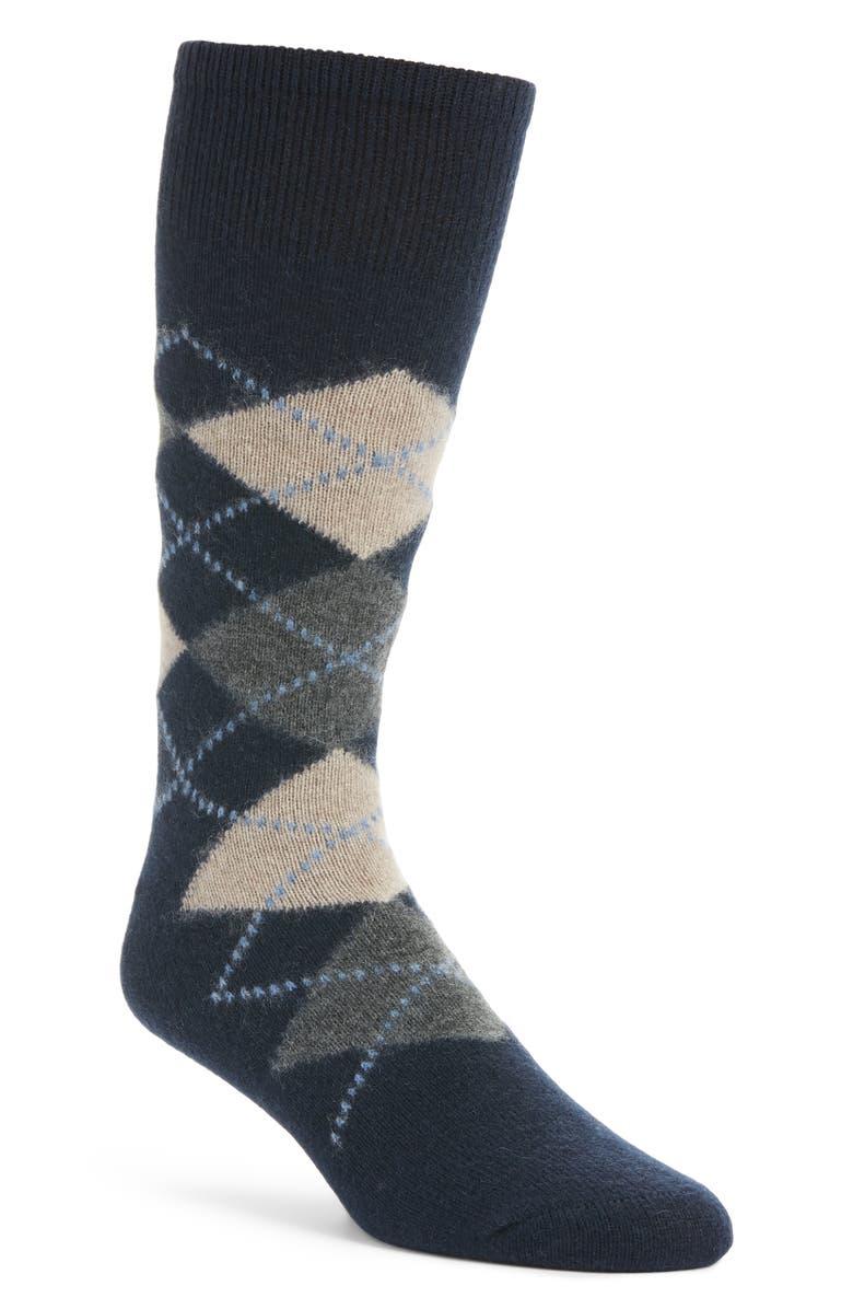 NORDSTROM SIGNATURE Argyle Cashmere Blend Socks, Main, color, 410