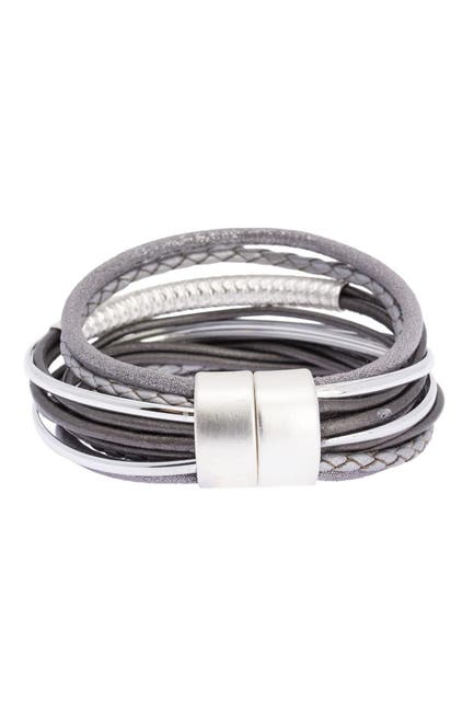 Image of Saachi Sophisticated Hammered Tube Leather & Faux Suede Multi-Strand Bracelet