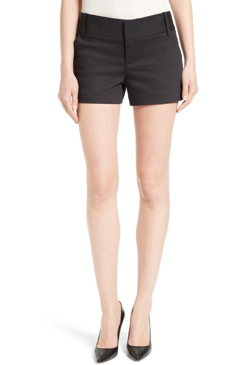 ALICE + OLIVIA Cady Cotton Blend Shorts, Main, color, BLACK