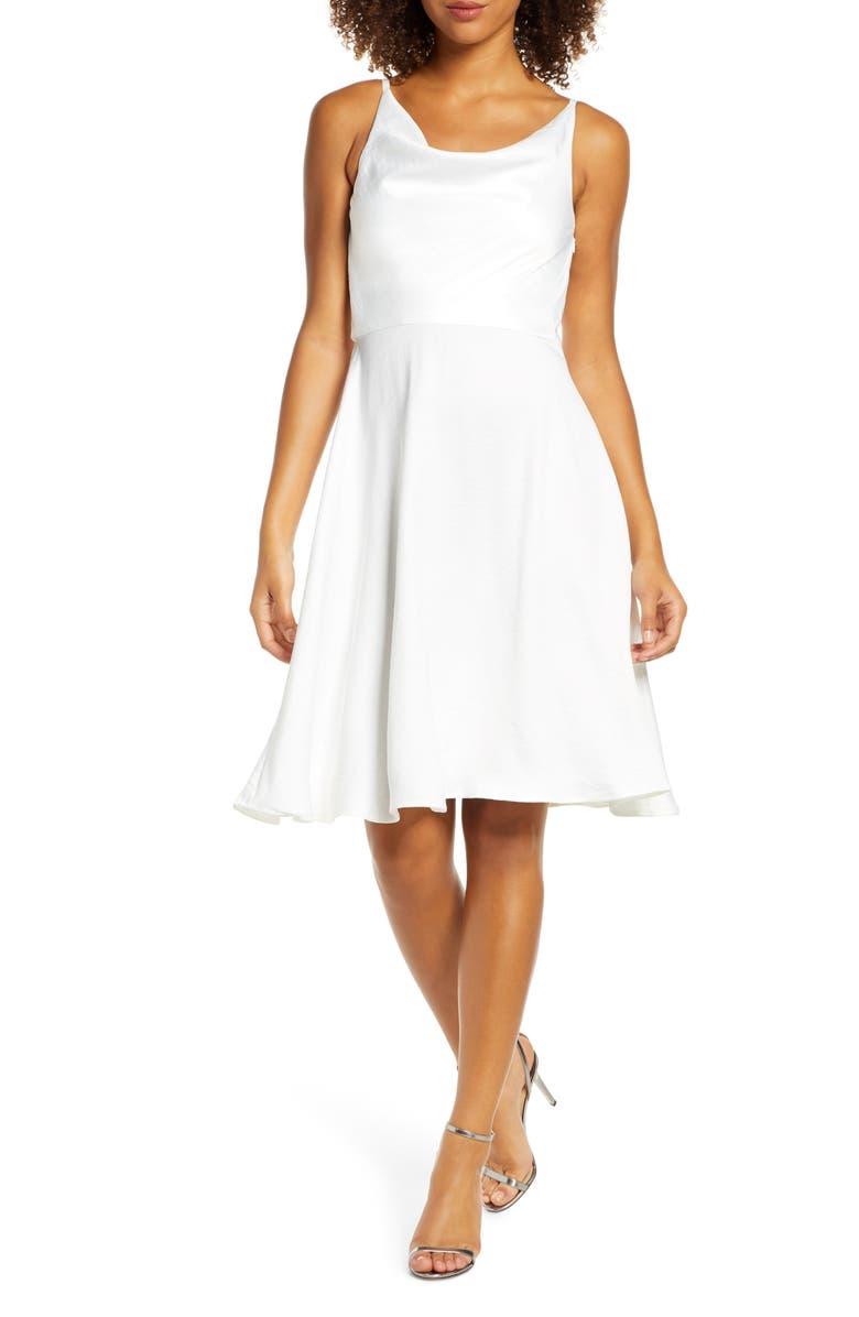 CHI CHI LONDON Jordyn Cowl Neck Satin Dress, Main, color, 100