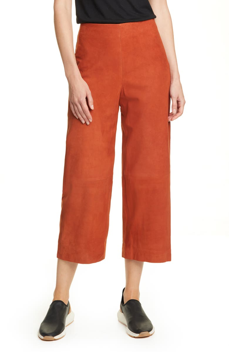 VINCE Nubuck Suede Culottes, Main, color, DARK BRICK