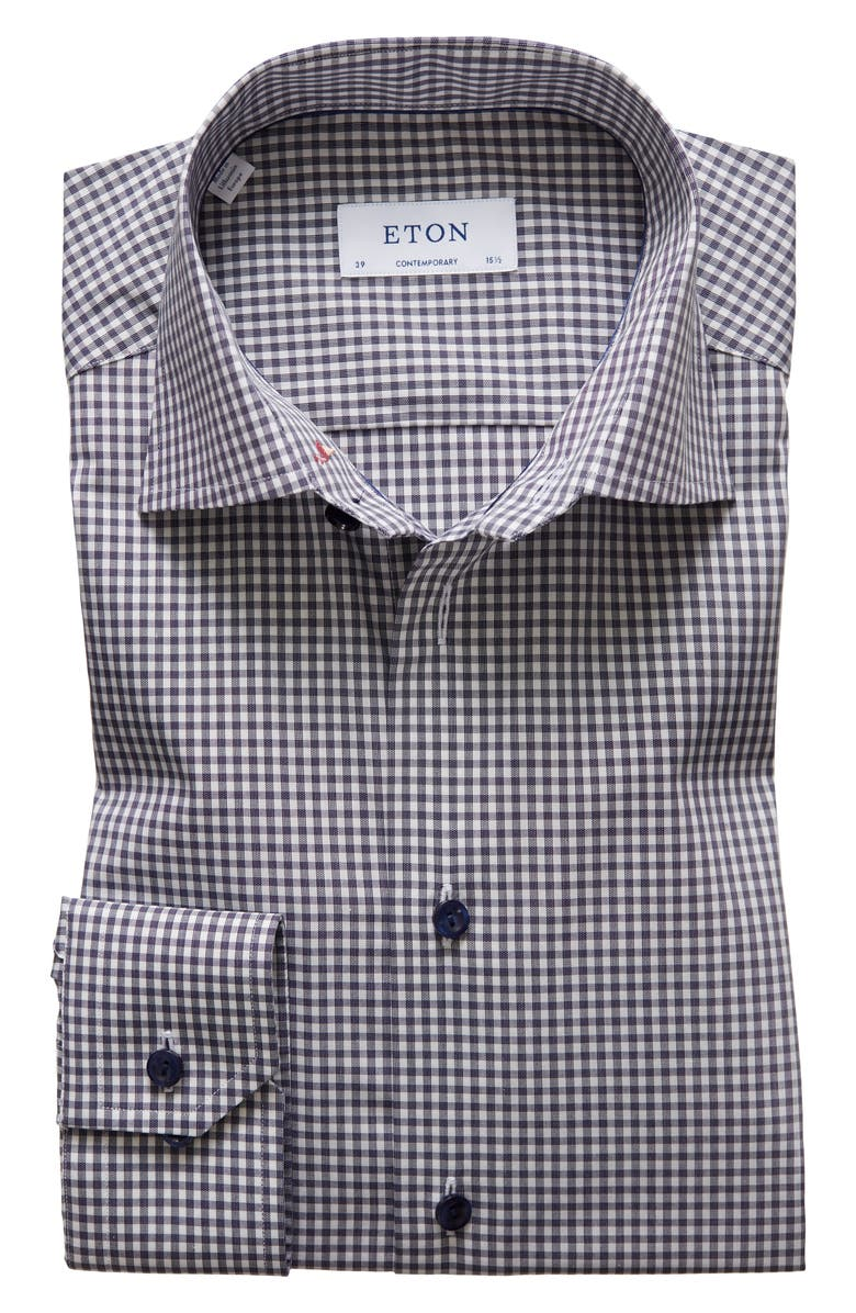 ETON Contemporary Fit Check Dress Shirt, Main, color, NAVY