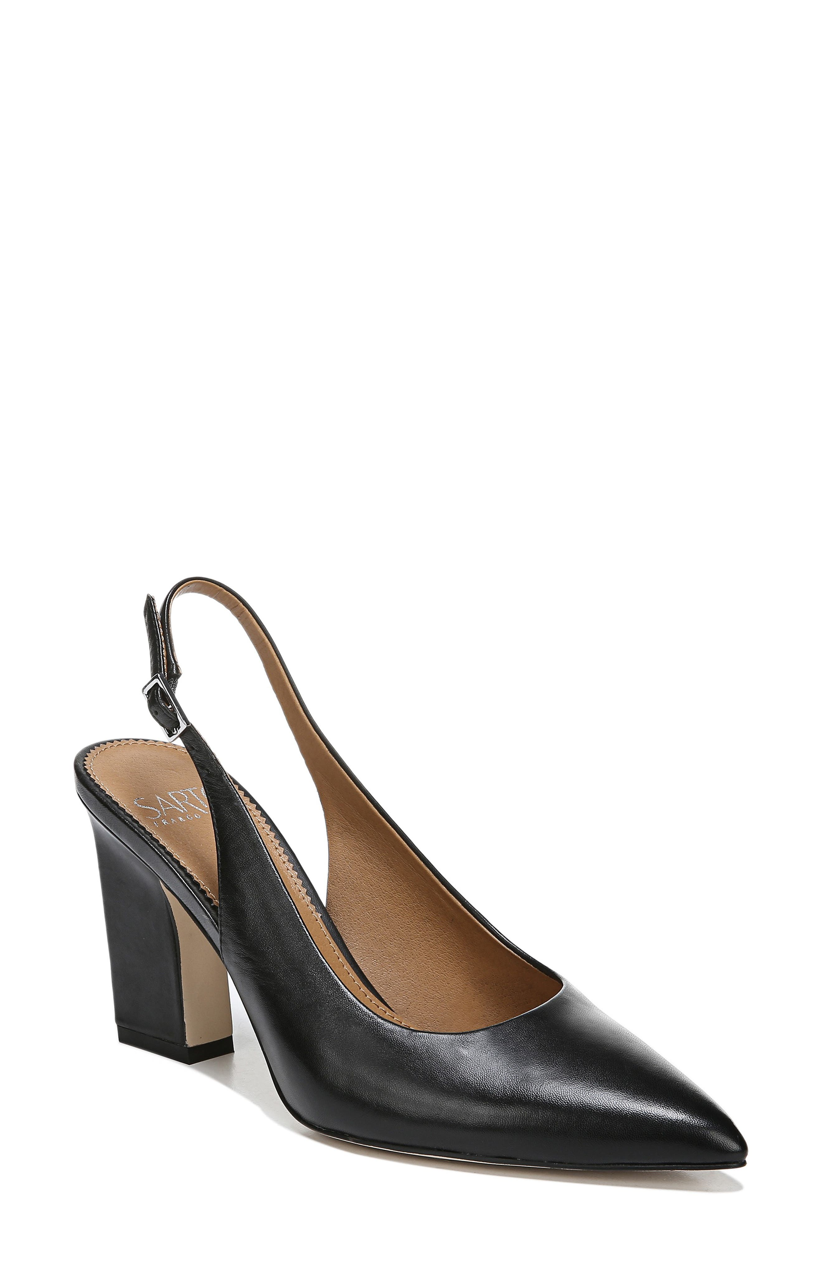 ,                             Sophie Pointy Toe Slingback Pump,                             Main thumbnail 1, color,                             BLACK PATENT LEATHER