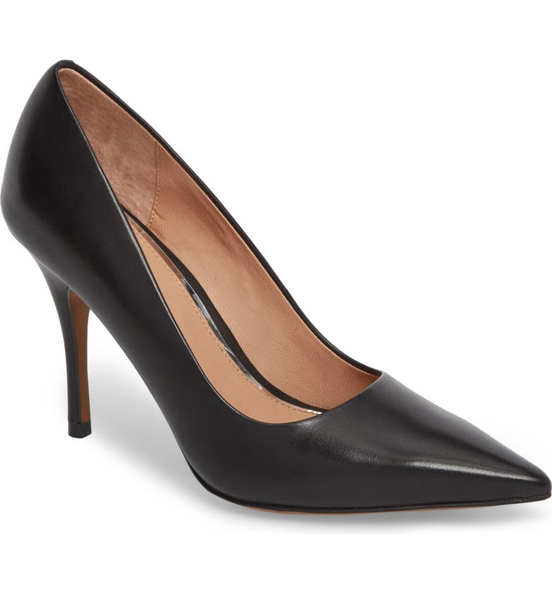 LINEA PAOLO Payton Pointy Toe Pump, Main, color, BLACK LEATHER