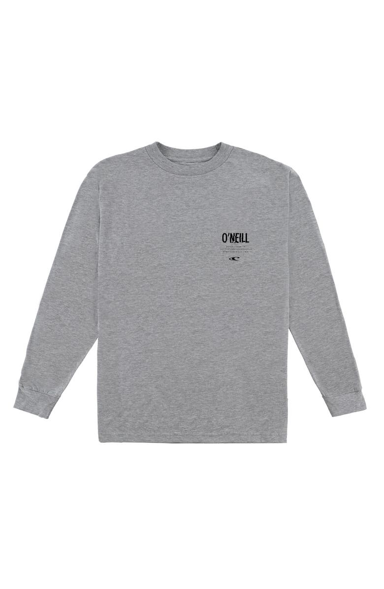 O'NEILL Worked Long Sleeve Cotton T-Shirt, Main, color, LIGHT HEATHER GREY
