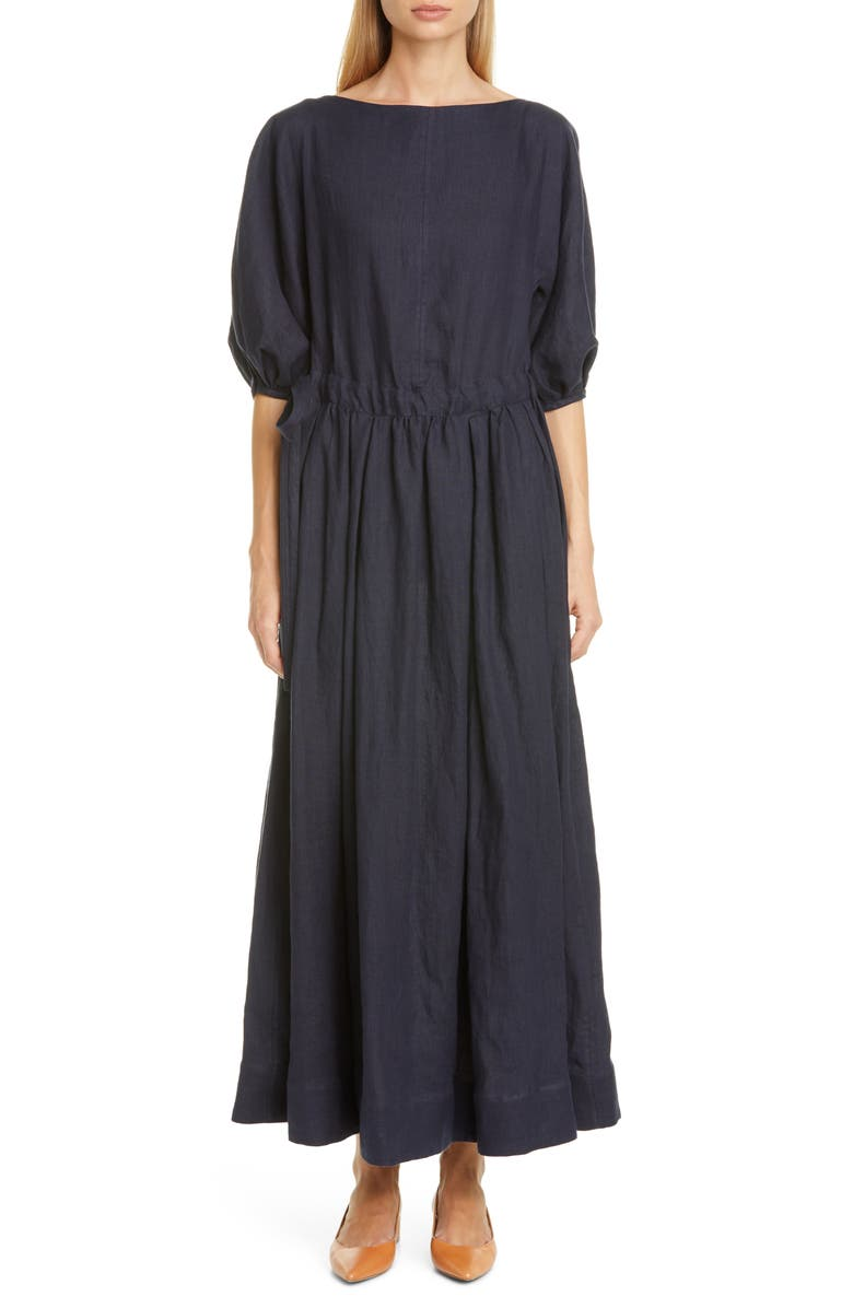 MANSUR GAVRIEL Drawstring Waist Linen Dress, Main, color, BLU