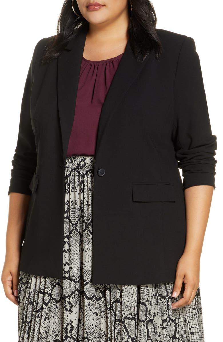 HALOGEN<SUP>®</SUP> Single Breasted Blazer, Main, color, BLACK