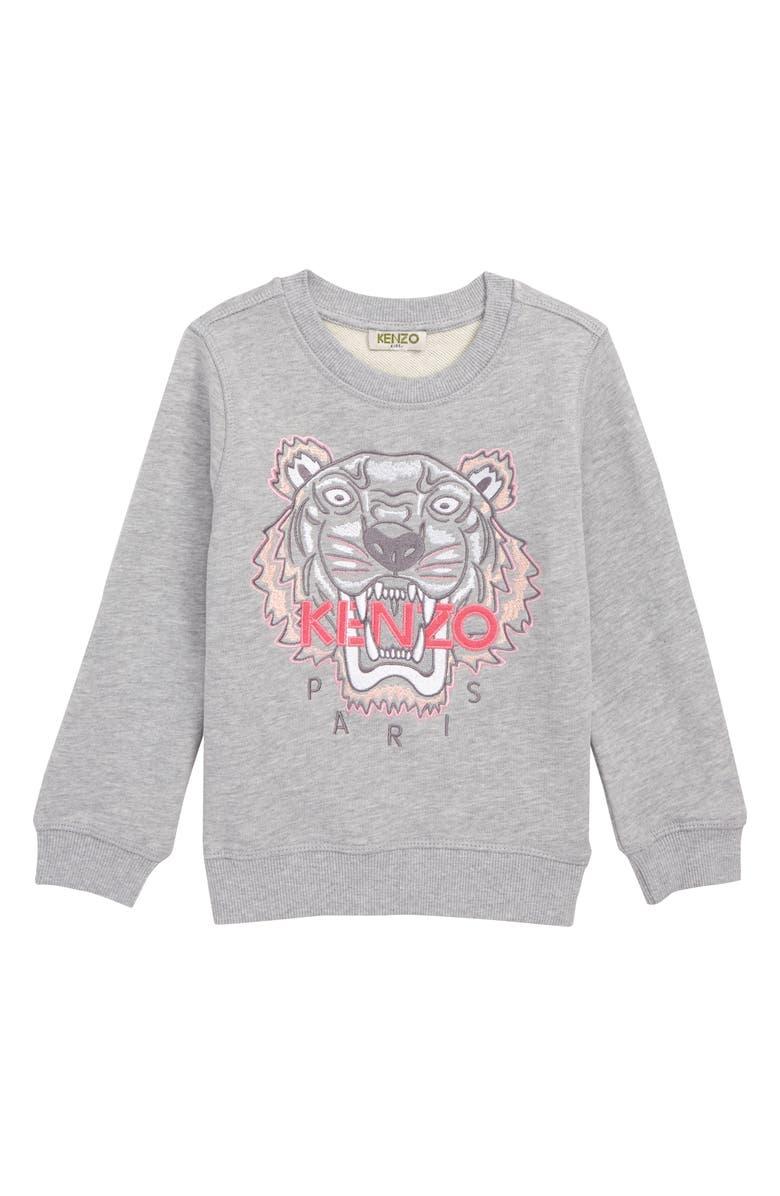 KENZO Embroidered Tiger Sweatshirt, Main, color, MARL GREY