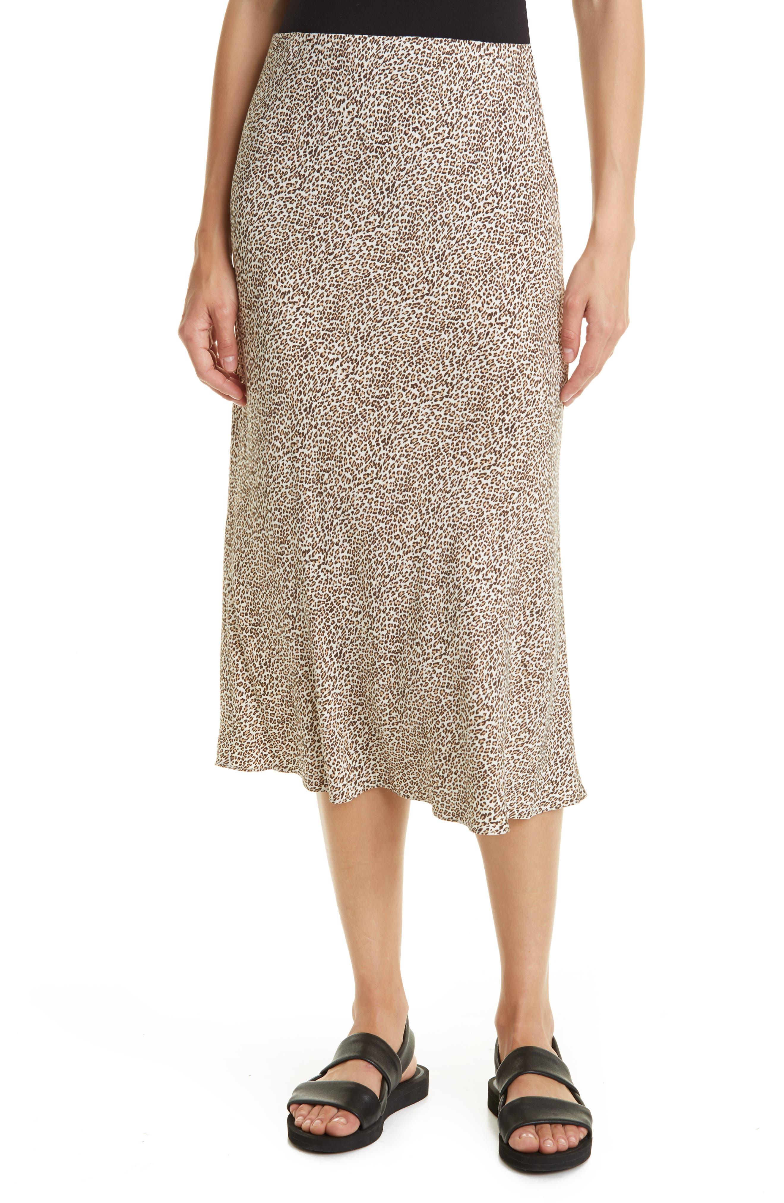 Animal Print Satin Slip Skirt