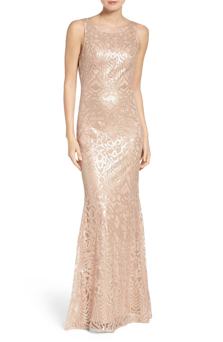 WTOO Sequin Embroidered Cowl Back A-Line Gown, Main, color, LATTE