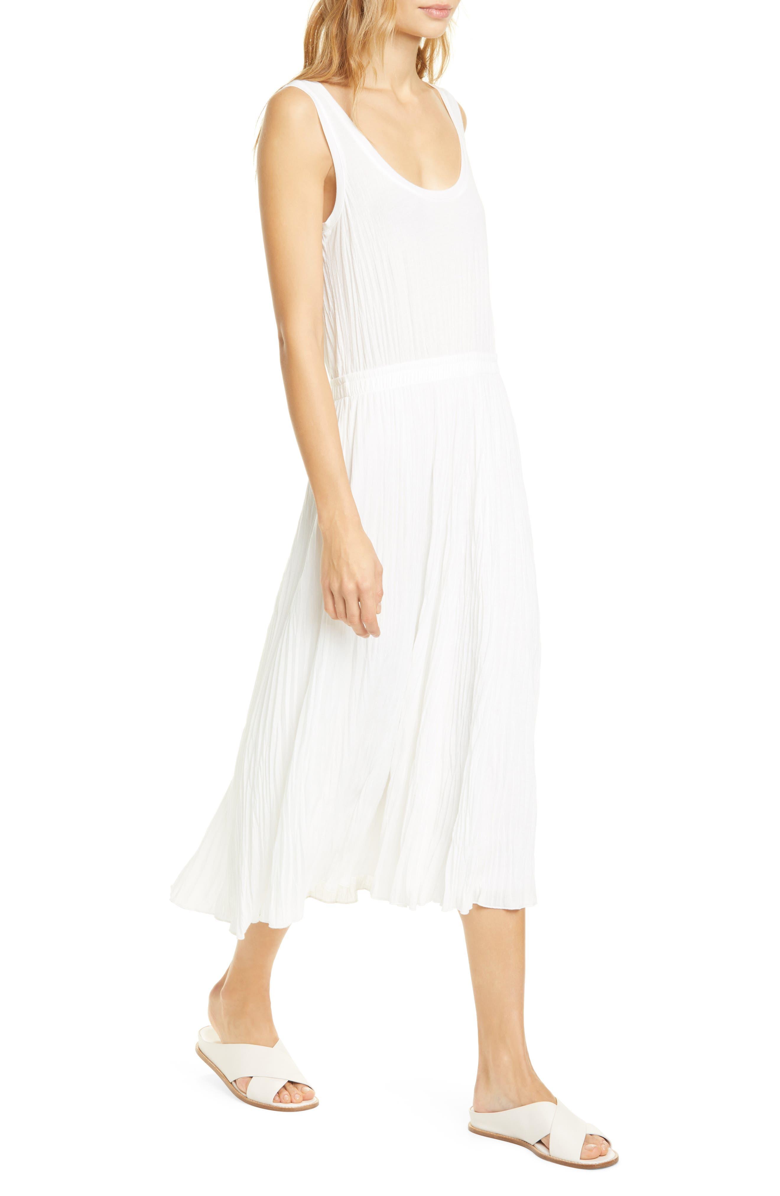 1920s Day Dresses, Tea Dresses, Mature Dresses with Sleeves Womens Vince Scoop Neck Pleated Tank Dress Size Medium - Ivory $171.00 AT vintagedancer.com