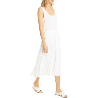 Vince Scoop Neck Pleated Tank Dress, Ivory