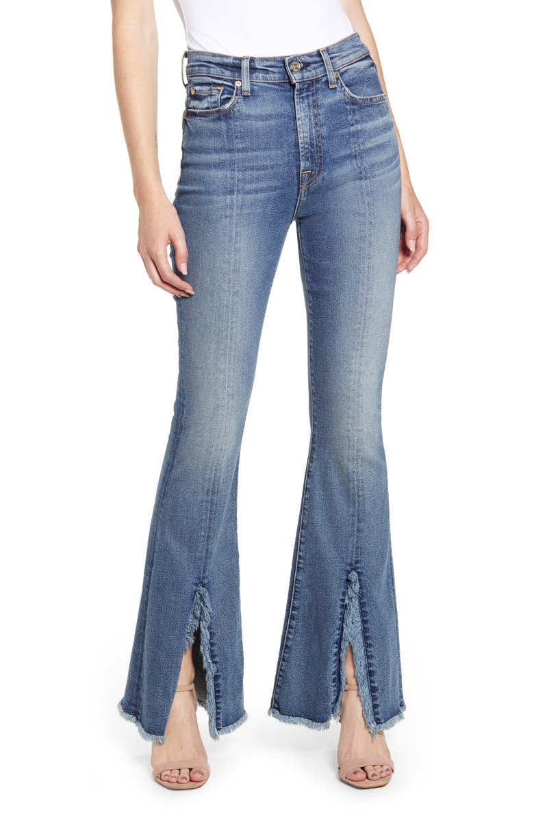 7 FOR ALL MANKIND<SUP>®</SUP> Exaggerated Kick Fray Hem Jeans, Main, color, 402