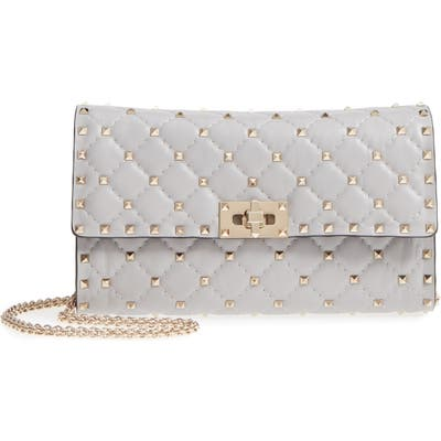 Valentino Garavani Rockstud Matelasse Quilted Leather Crossbody Bag - Grey