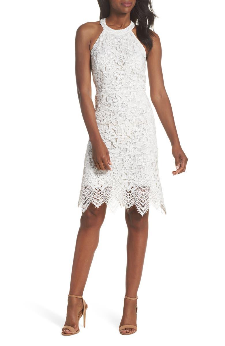 KOBI HALPERIN Isla Lace Halter Dress, Main, color, 100