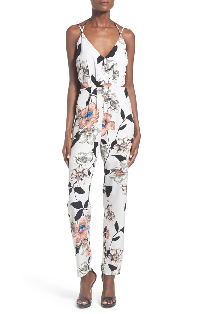 LEITH Strappy Floral Print Jumpsuit, Main, color, 050